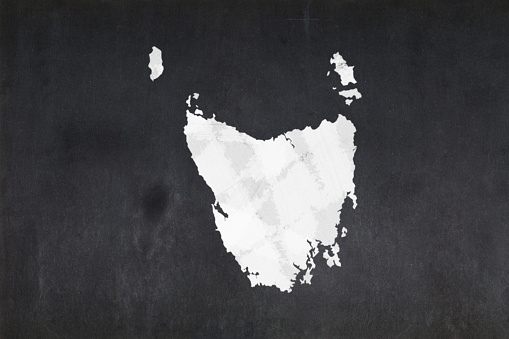 Map Of The State Of Tasmania Drawn On A Blackboard Stock Photo - Download Image Now