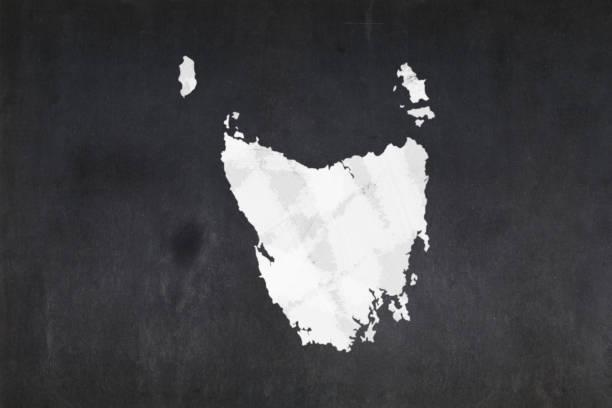 Map of the State of Tasmania drawn on a blackboard stock photo