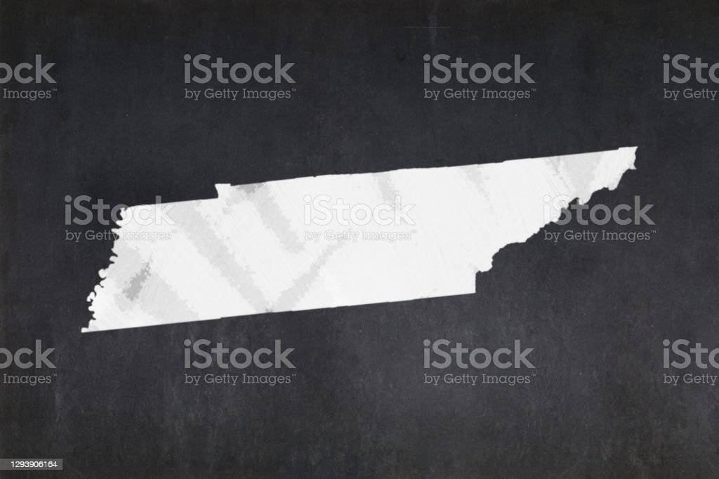 Map of the State of Tennessee drawn on a blackboard Blackboard with a the map of the State of Tennessee (USA) drawn in the middle. American Culture Stock Photo