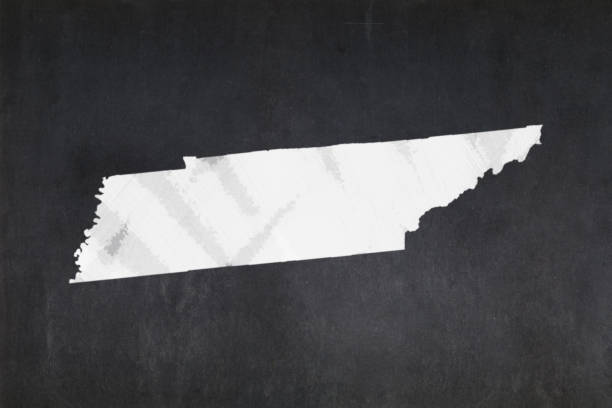 Map of the State of Tennessee drawn on a blackboard stock photo