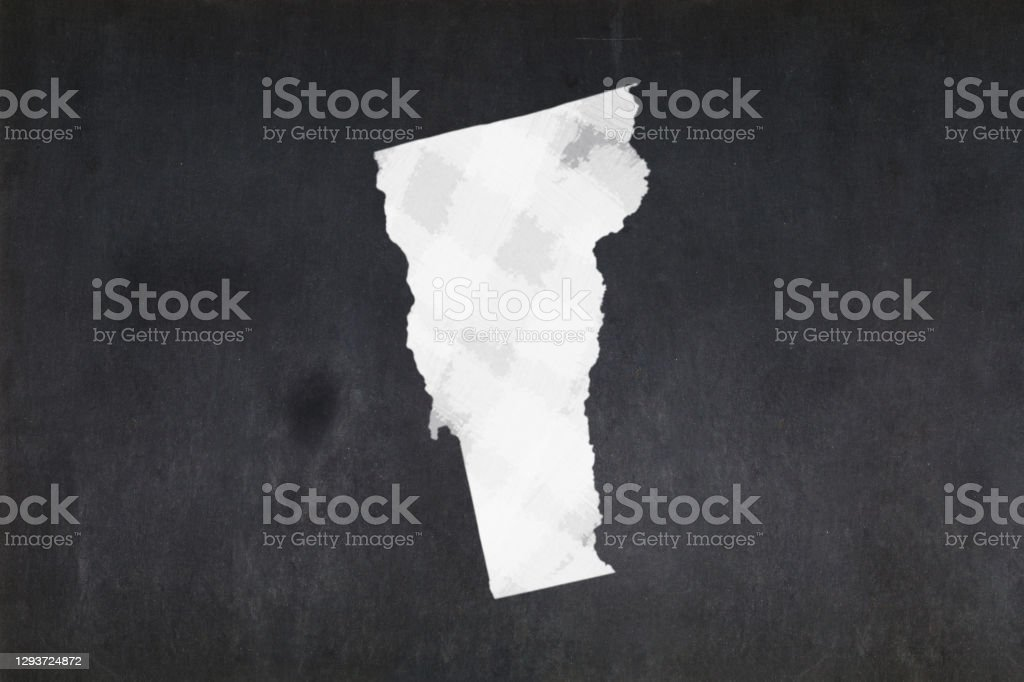 Map of the State of Vermont drawn on a blackboard Blackboard with a the map of the State of Vermont (USA) drawn in the middle. American Culture Stock Photo