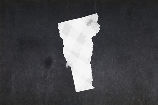 Map Of The State Of Vermont Drawn On A Blackboard Stock Photo - Download Image Now
