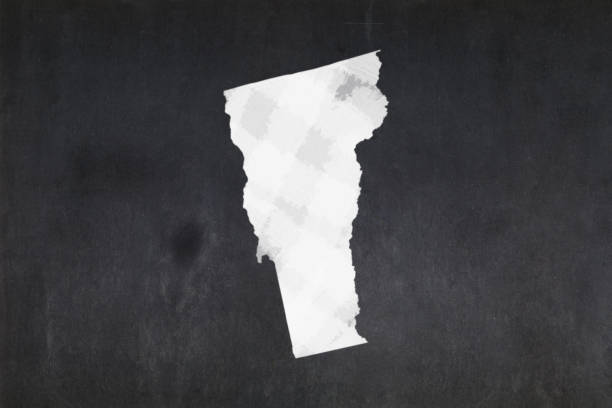 Map of the State of Vermont drawn on a blackboard stock photo