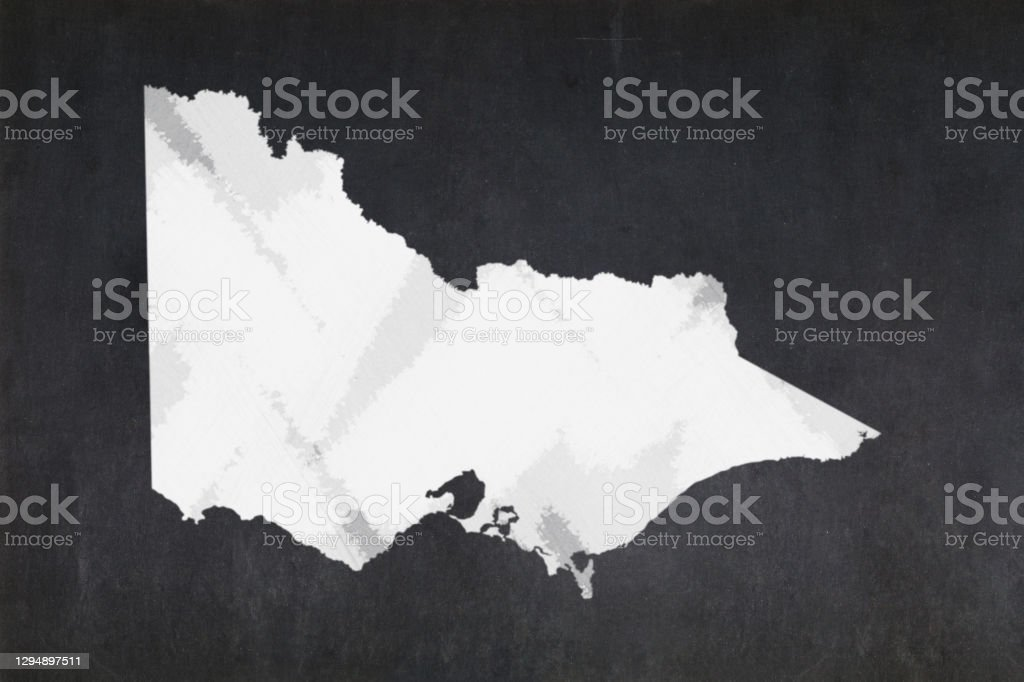 Map of the State of Victoria drawn on a blackboard Blackboard with a the map of the State of Victoria (Australia) drawn in the middle. Australia Stock Photo