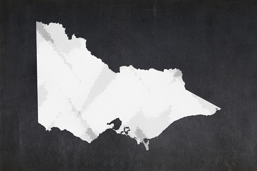 Map Of The State Of Victoria Drawn On A Blackboard Stock Photo - Download Image Now