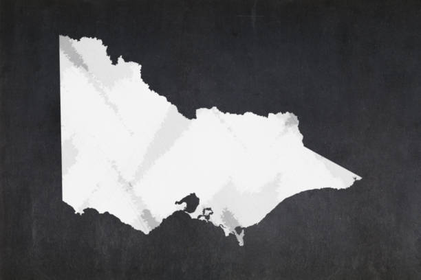 Map of the State of Victoria drawn on a blackboard stock photo