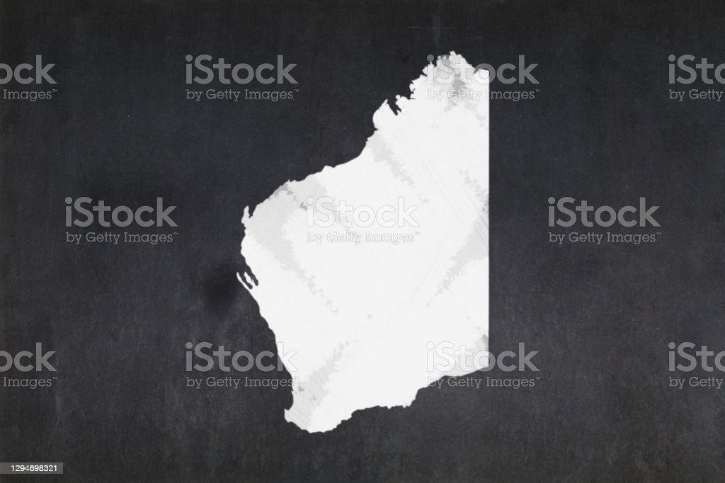 Map of the State of Western Australia drawn on a blackboard Blackboard with a the map of the State of Western Australia (Australia) drawn in the middle. Australia Stock Photo