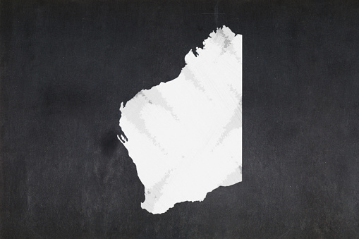 Map Of The State Of Western Australia Drawn On A Blackboard Stock Photo - Download Image Now