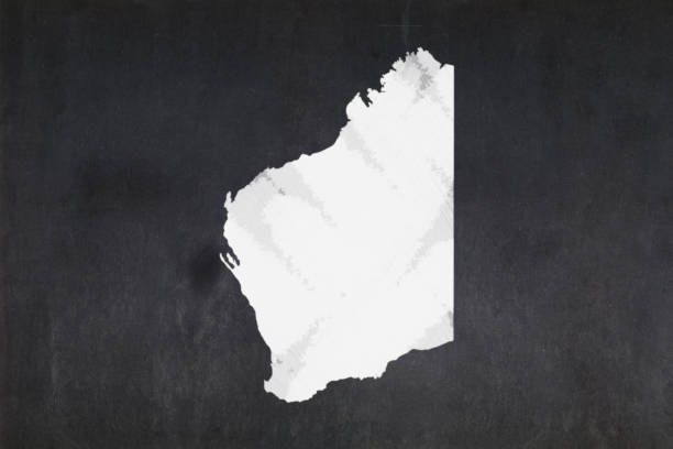 Map of the State of Western Australia drawn on a blackboard stock photo