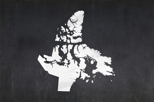Map Of The Territory Of Nunavut Drawn On A Blackboard Stock Photo - Download Image Now
