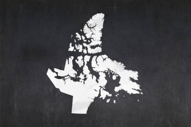 Map of the territory of Nunavut drawn on a blackboard stock photo