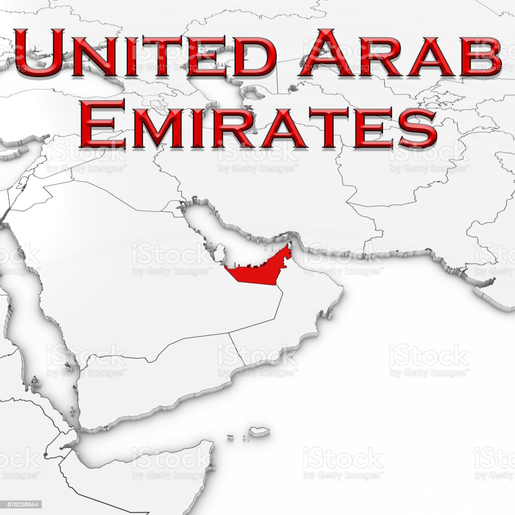 3d Map Of The United Arab Emirates With Country Name Highlighted Red ...