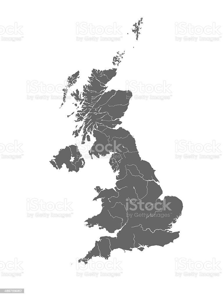 Map of the United Kingdom with rivers. stock photo
