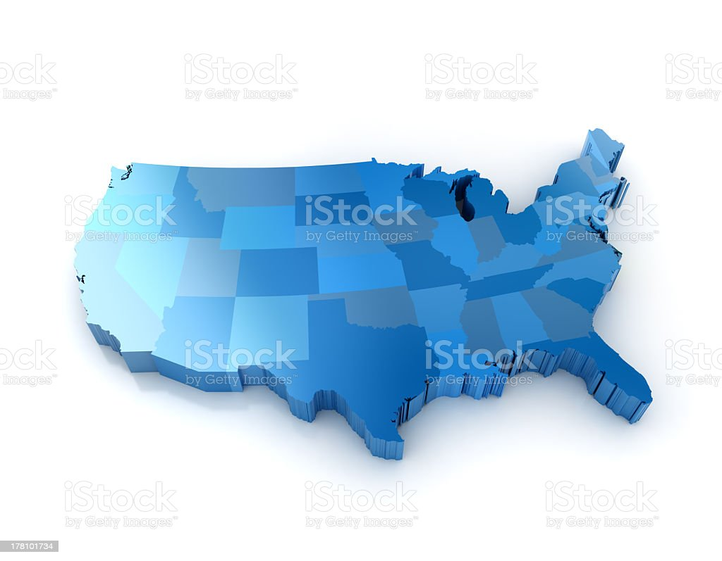 A map of The United States in different shades of blue  stock photo