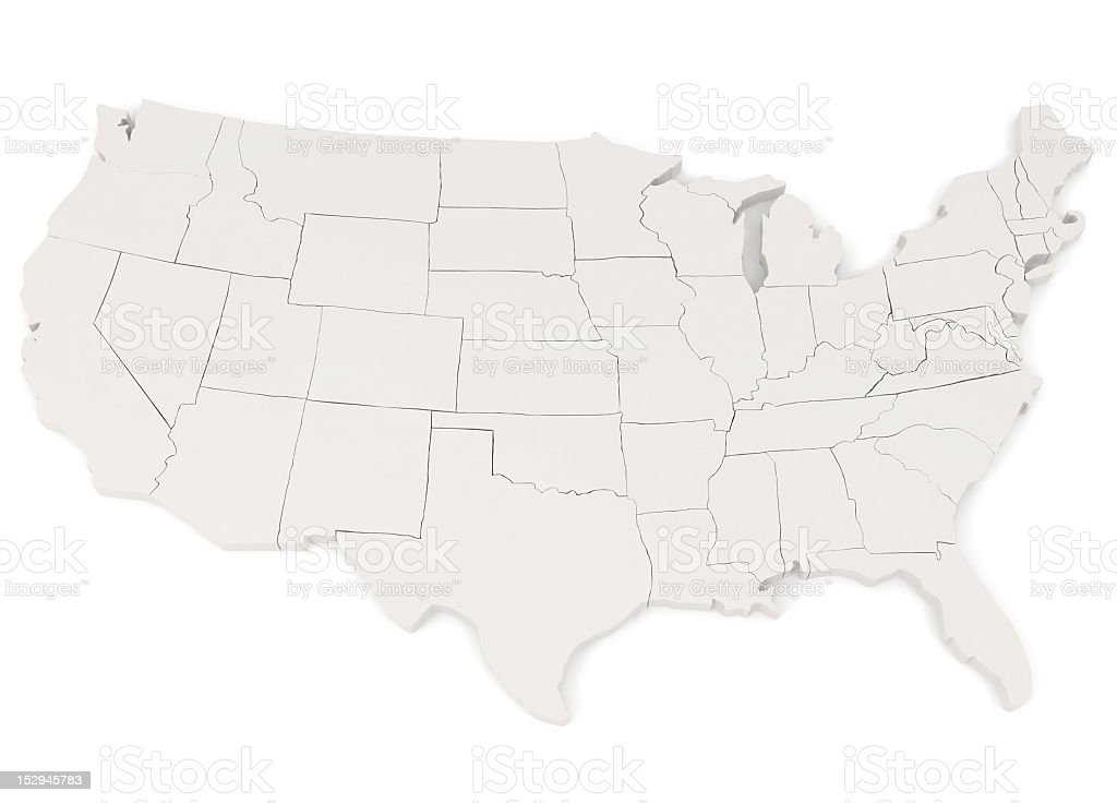 Map of the United States of America with state boundaries royalty-free stock photo