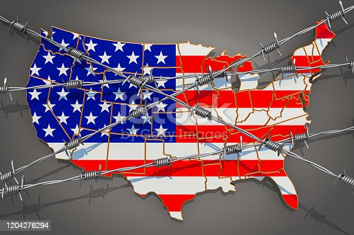 Map of the United States with barbed wire, 3D rendering on grey background