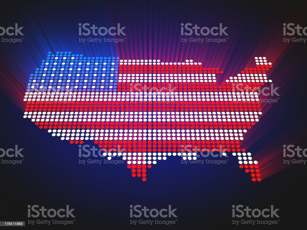 Map of the US - LED style royalty-free stock photo