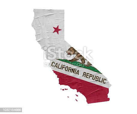 Map of the US State of California with grunge flag