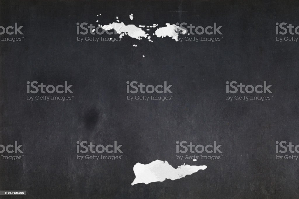 Map of the US Virgin Islands drawn on a blackboard Blackboard with a the map of the US Virgin Islands drawn in the middle. Backgrounds Stock Photo