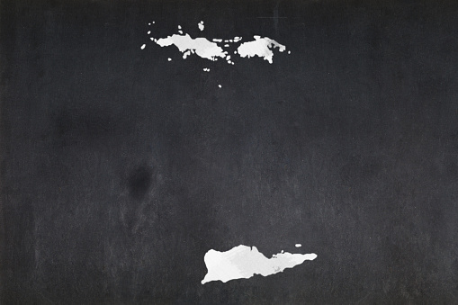 Map Of The Us Virgin Islands Drawn On A Blackboard Stock Photo - Download Image Now