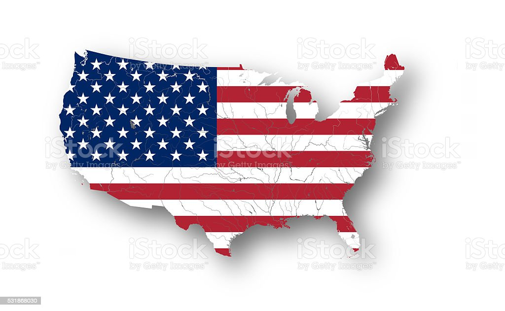 Map of the USA with american flag. stock photo