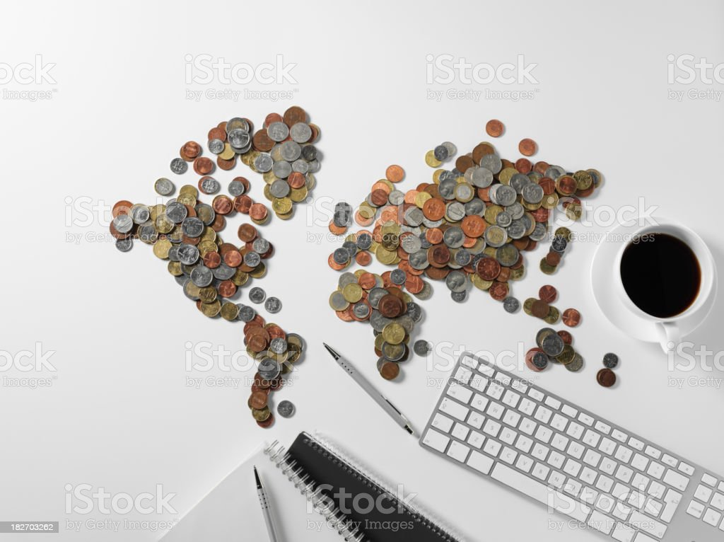 Map of the World in Money with Copy Space royalty-free stock photo
