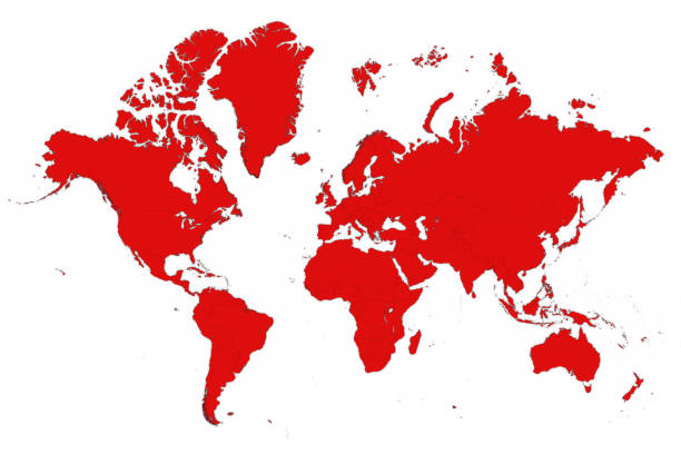 3D Map of the World in Red on White Background 3D Illustration stock photo