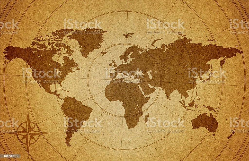Map of the world on grunge background stock photo