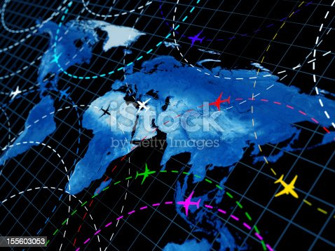 istock Map of the world showing air traffic patterns 155603053