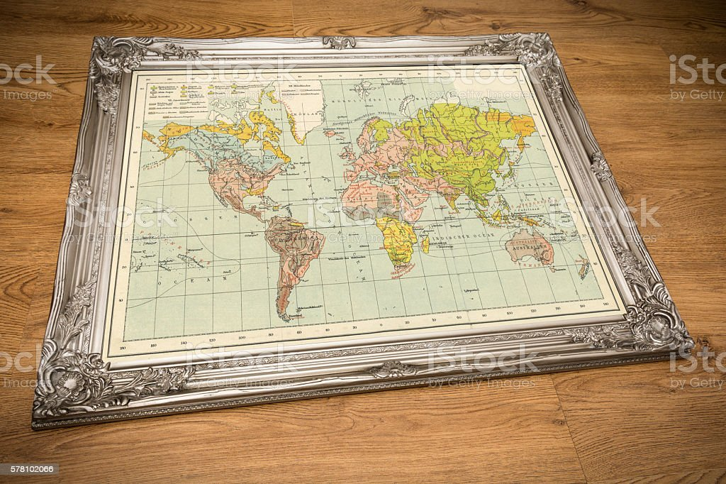 Map of the World Silver Frame stock photo
