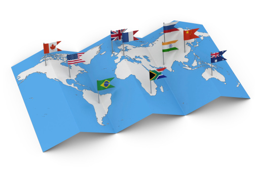 istock Map of the World with Flags 186578045