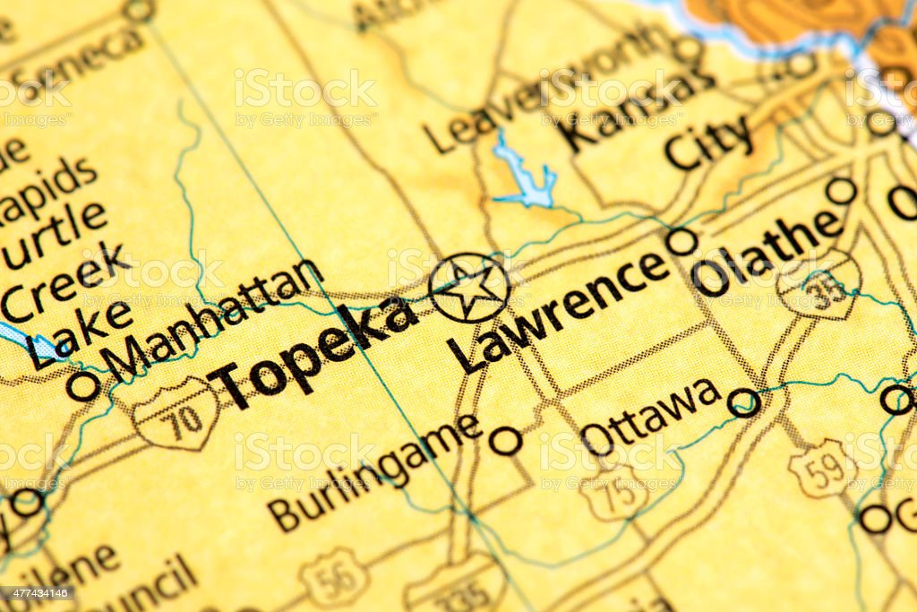 Map of Topeka in Kansas State, USA stock photo