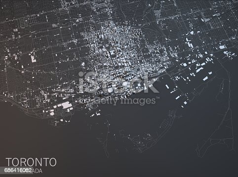 istock Map of Toronto, satellite view, city, Ontario, Canada 686416082