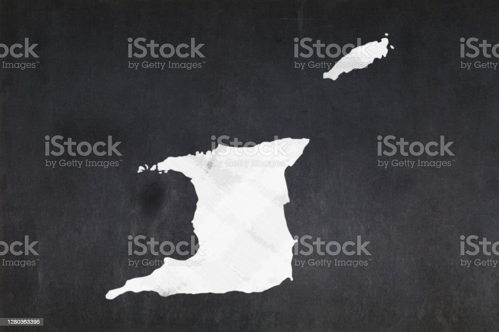 Map of Trinidad and Tobago drawn on a blackboard Blackboard with a the map of Trinidad and Tobago drawn in the middle. Backgrounds Stock Photo