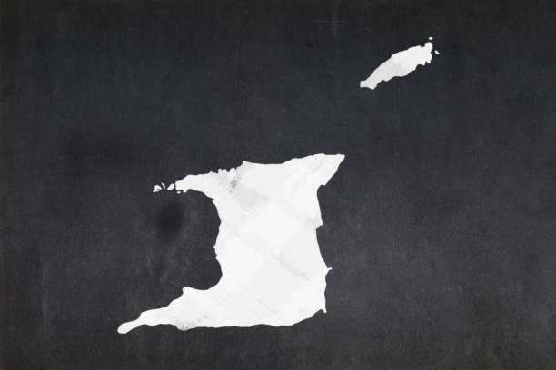 Map of Trinidad and Tobago drawn on a blackboard stock photo