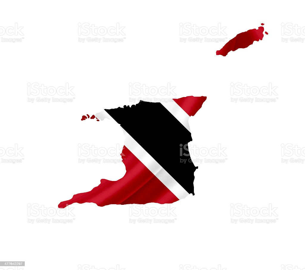 Map of Trinidad and Tobago waving flag isolated on white stock photo