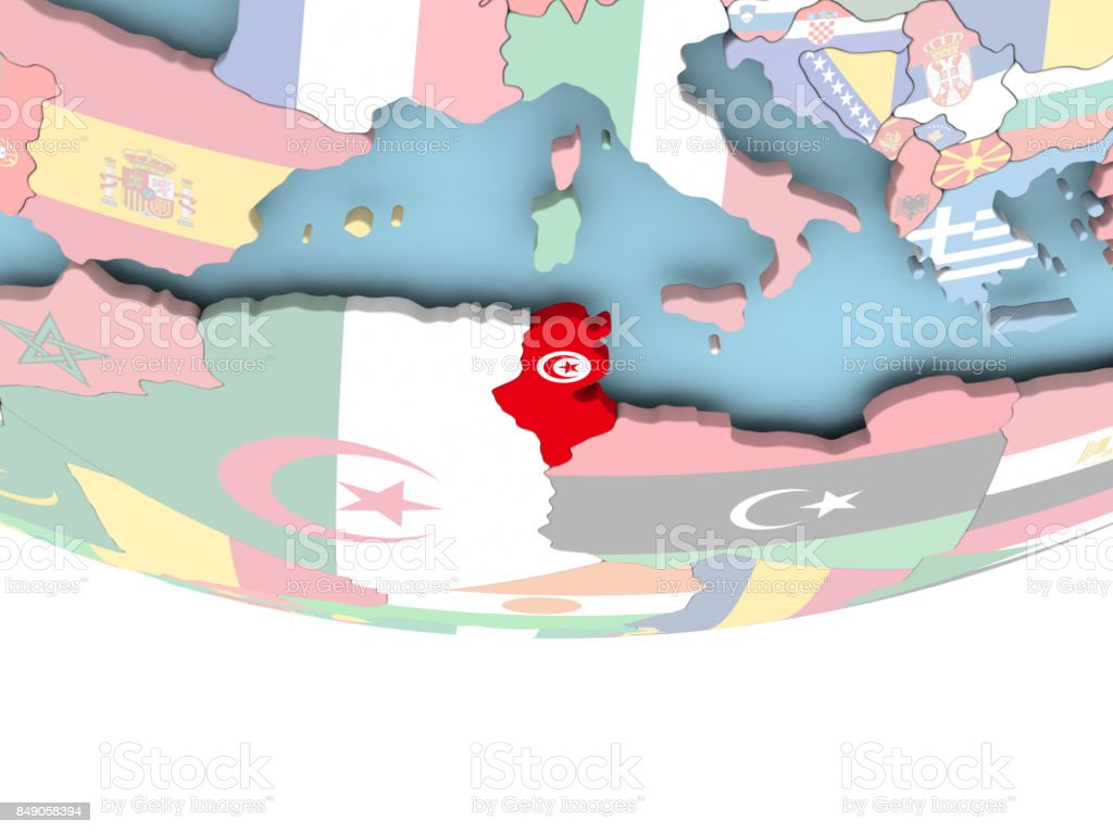 Tunesien Karte Welt.Karte Von Tunesien Mit Flagge Auf Der Ganzen Welt Stockfoto