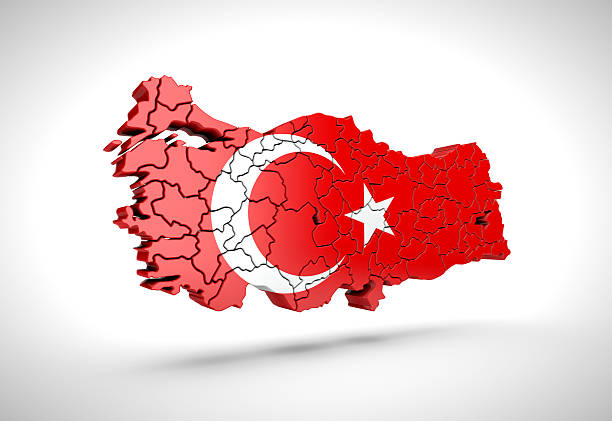 Map of Turkish on a grey background. – Foto