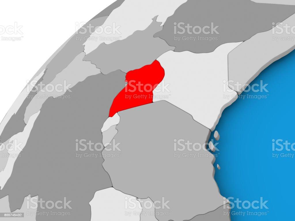 Map of Uganda in red stock photo