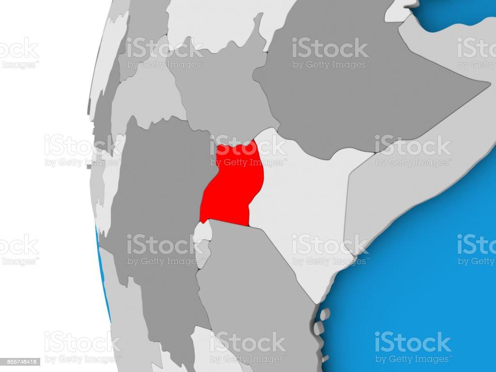 Map of Uganda on political globe stock photo