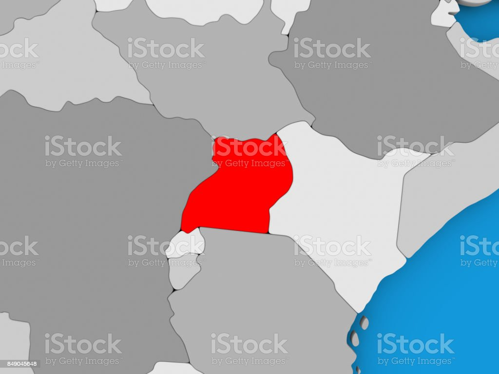 Map of Uganda stock photo