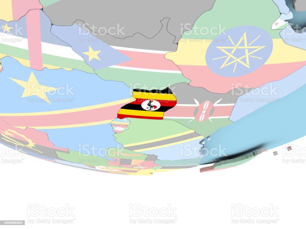 Map of Uganda with flag on globe stock photo