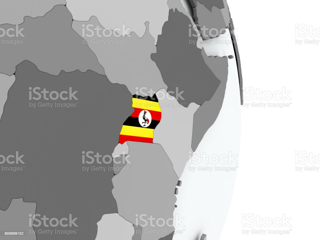 Map of Uganda with flag stock photo