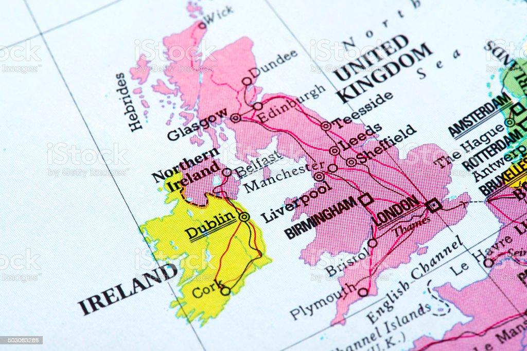 Map of United Kingdom and Ireland stock photo