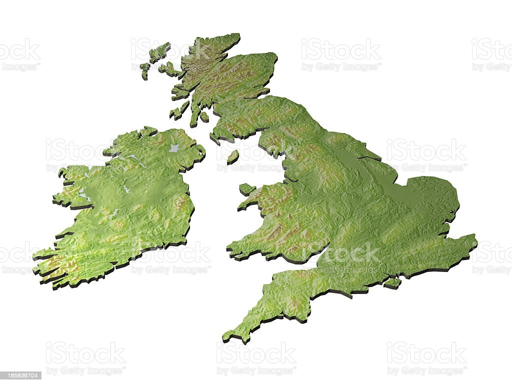 3D map of United Kingdom on white background stock photo