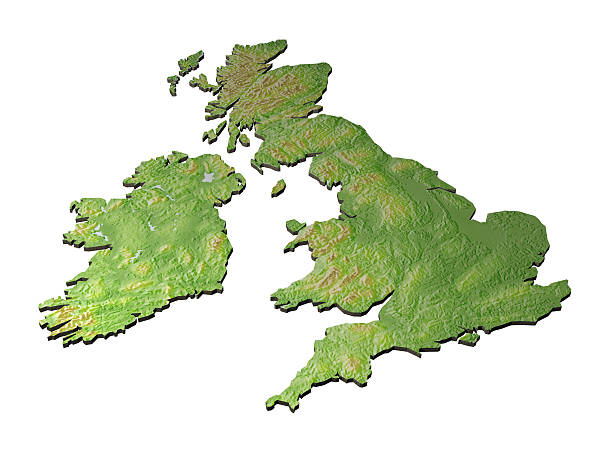 3D map of United Kingdom on white background A CAD render of contoured version of british isles uk map stock pictures, royalty-free photos & images