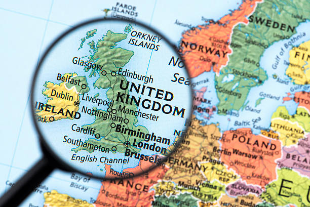 Map of United Kingdom Map of United Kingdom. Detail from the World Atlas. Selective Focus. uk map stock pictures, royalty-free photos & images