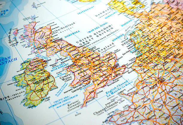 Map of United Kingdom stock photo