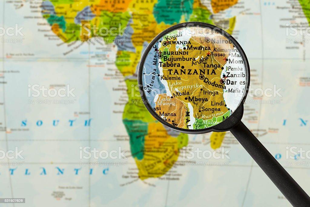Map of United Republic of Tanzania stock photo