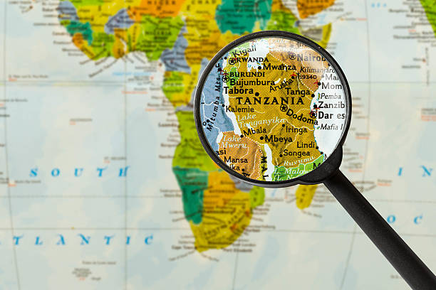 Map of United Republic of Tanzania Map of United Republic of Tanzania through magnifying glass tanzania stock pictures, royalty-free photos & images